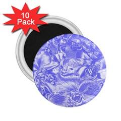 Shimmering Floral Damask,blue 2.25  Magnets (10 pack)