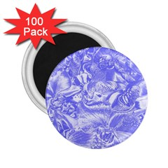 Shimmering Floral Damask,blue 2.25  Magnets (100 pack)
