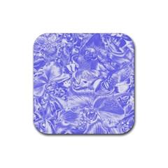 Shimmering Floral Damask,blue Rubber Coaster (Square)
