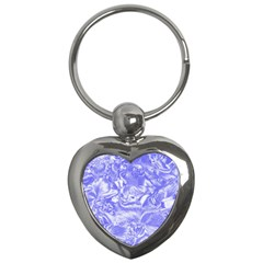 Shimmering Floral Damask,blue Key Chains (Heart)