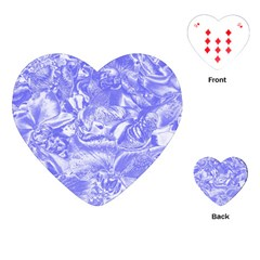 Shimmering Floral Damask,blue Playing Cards (Heart)