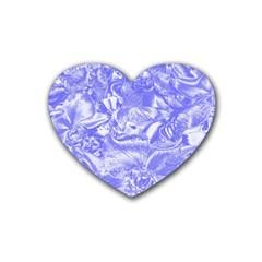Shimmering Floral Damask,blue Rubber Coaster (Heart)