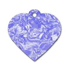 Shimmering Floral Damask,blue Dog Tag Heart (One Side)