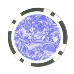 Shimmering Floral Damask,blue Poker Chip Card Guard