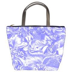 Shimmering Floral Damask,blue Bucket Bags