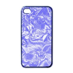Shimmering Floral Damask,blue Apple iPhone 4 Case (Black)