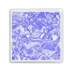 Shimmering Floral Damask,blue Memory Card Reader (Square)