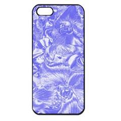 Shimmering Floral Damask,blue Apple iPhone 5 Seamless Case (Black)