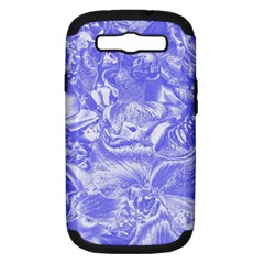Shimmering Floral Damask,blue Samsung Galaxy S III Hardshell Case (PC+Silicone)