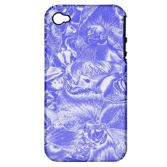 Shimmering Floral Damask,blue Apple iPhone 4/4S Hardshell Case (PC+Silicone)