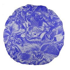 Shimmering Floral Damask,blue Large 18  Premium Round Cushions
