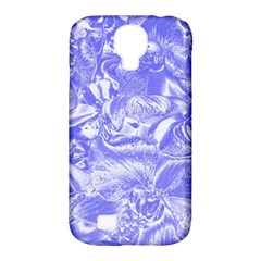 Shimmering Floral Damask,blue Samsung Galaxy S4 Classic Hardshell Case (PC+Silicone)
