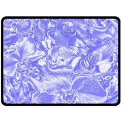 Shimmering Floral Damask,blue Double Sided Fleece Blanket (Large)