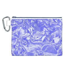 Shimmering Floral Damask,blue Canvas Cosmetic Bag (L)