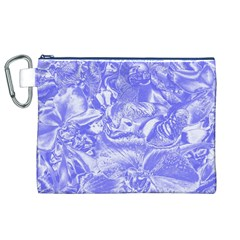 Shimmering Floral Damask,blue Canvas Cosmetic Bag (XL)
