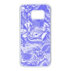 Shimmering Floral Damask,blue Samsung Galaxy S7 White Seamless Case
