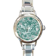 Shimmering Floral Damask, Teal Round Italian Charm Watch