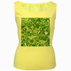 Shimmering Floral Damask, Teal Women s Yellow Tank Top