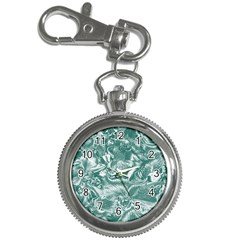 Shimmering Floral Damask, Teal Key Chain Watches