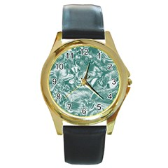 Shimmering Floral Damask, Teal Round Gold Metal Watch