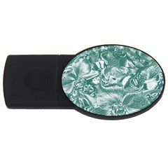 Shimmering Floral Damask, Teal USB Flash Drive Oval (2 GB)