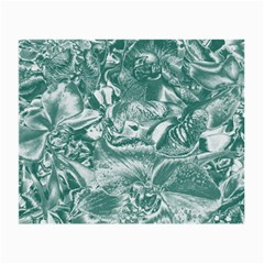 Shimmering Floral Damask, Teal Small Glasses Cloth (2-Side)