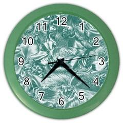 Shimmering Floral Damask, Teal Color Wall Clocks