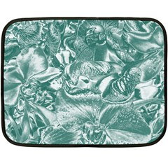 Shimmering Floral Damask, Teal Double Sided Fleece Blanket (Mini)