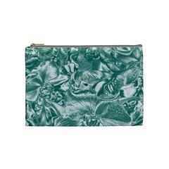 Shimmering Floral Damask, Teal Cosmetic Bag (Medium)