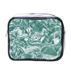 Shimmering Floral Damask, Teal Mini Toiletries Bags