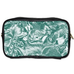 Shimmering Floral Damask, Teal Toiletries Bags