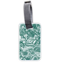Shimmering Floral Damask, Teal Luggage Tags (One Side)