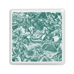 Shimmering Floral Damask, Teal Memory Card Reader (square)