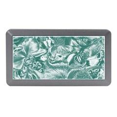 Shimmering Floral Damask, Teal Memory Card Reader (Mini)