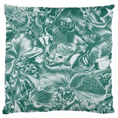 Shimmering Floral Damask, Teal Large Cushion Case (Two Sides)