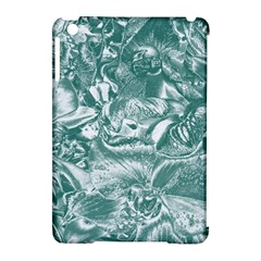 Shimmering Floral Damask, Teal Apple iPad Mini Hardshell Case (Compatible with Smart Cover)