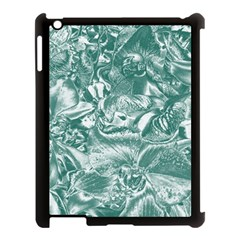 Shimmering Floral Damask, Teal Apple iPad 3/4 Case (Black)