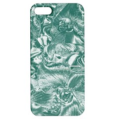 Shimmering Floral Damask, Teal Apple iPhone 5 Hardshell Case with Stand