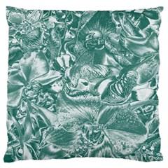 Shimmering Floral Damask, Teal Standard Flano Cushion Case (One Side)