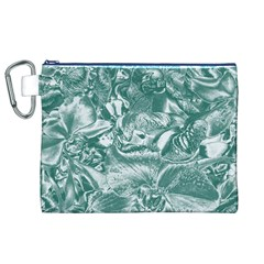 Shimmering Floral Damask, Teal Canvas Cosmetic Bag (XL)
