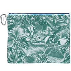 Shimmering Floral Damask, Teal Canvas Cosmetic Bag (XXXL)