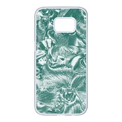 Shimmering Floral Damask, Teal Samsung Galaxy S7 edge White Seamless Case