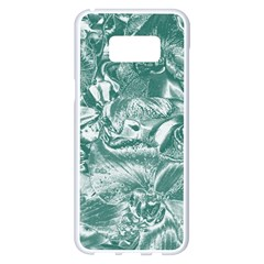 Shimmering Floral Damask, Teal Samsung Galaxy S8 Plus White Seamless Case