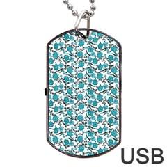 Roses pattern Dog Tag USB Flash (One Side)