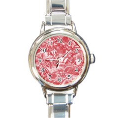 Shimmering Floral Damask Pink Round Italian Charm Watch