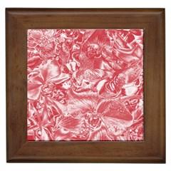 Shimmering Floral Damask Pink Framed Tiles