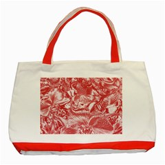 Shimmering Floral Damask Pink Classic Tote Bag (Red)