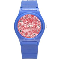 Shimmering Floral Damask Pink Round Plastic Sport Watch (S)