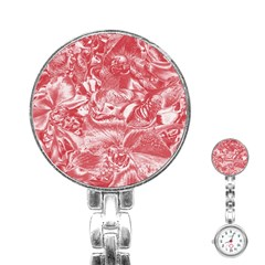 Shimmering Floral Damask Pink Stainless Steel Nurses Watch