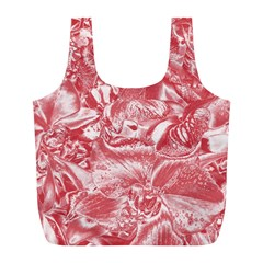 Shimmering Floral Damask Pink Full Print Recycle Bags (L)
